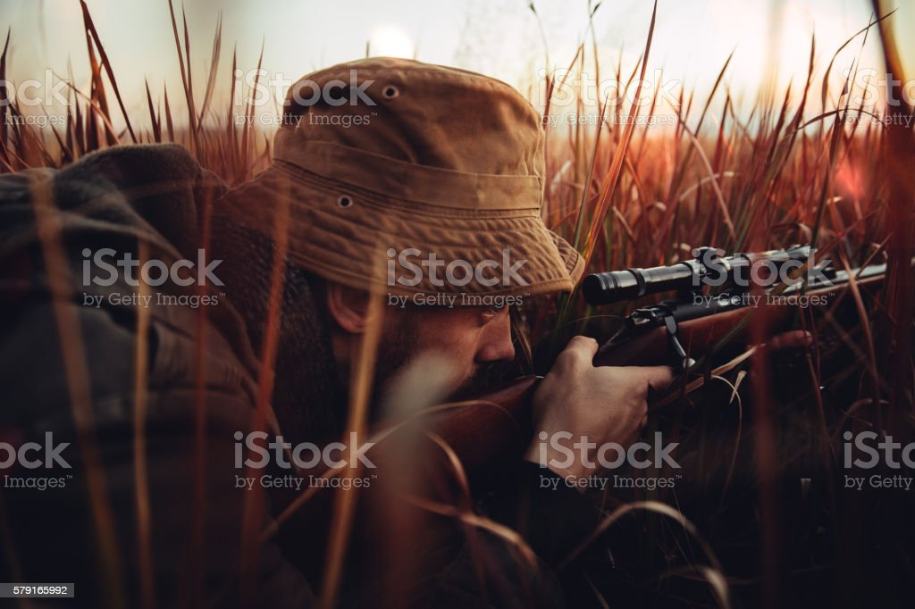 Hunter laying in long red grass looking trough his sniper stock photo