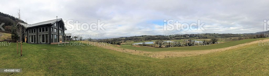 Hunter Lodges and River Usk at the Celtic Manor stock photo