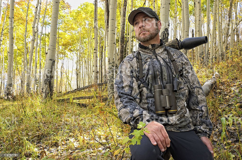 Hunter Man Outdoorsman Portrait stock photo