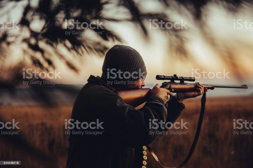 Hunter observing in the wilderness stock photo
