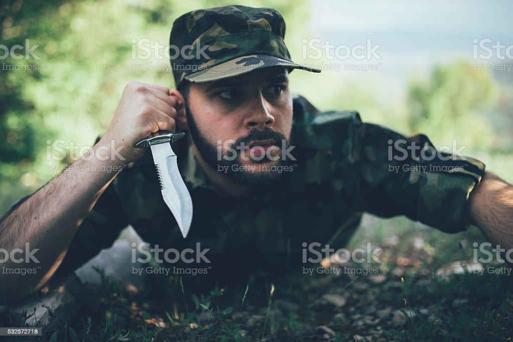 Hunter on the ground stock photo
