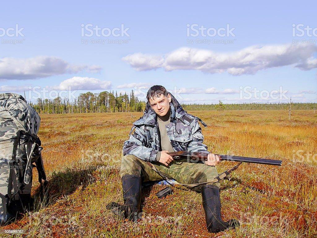 hunter on vacation stock photo