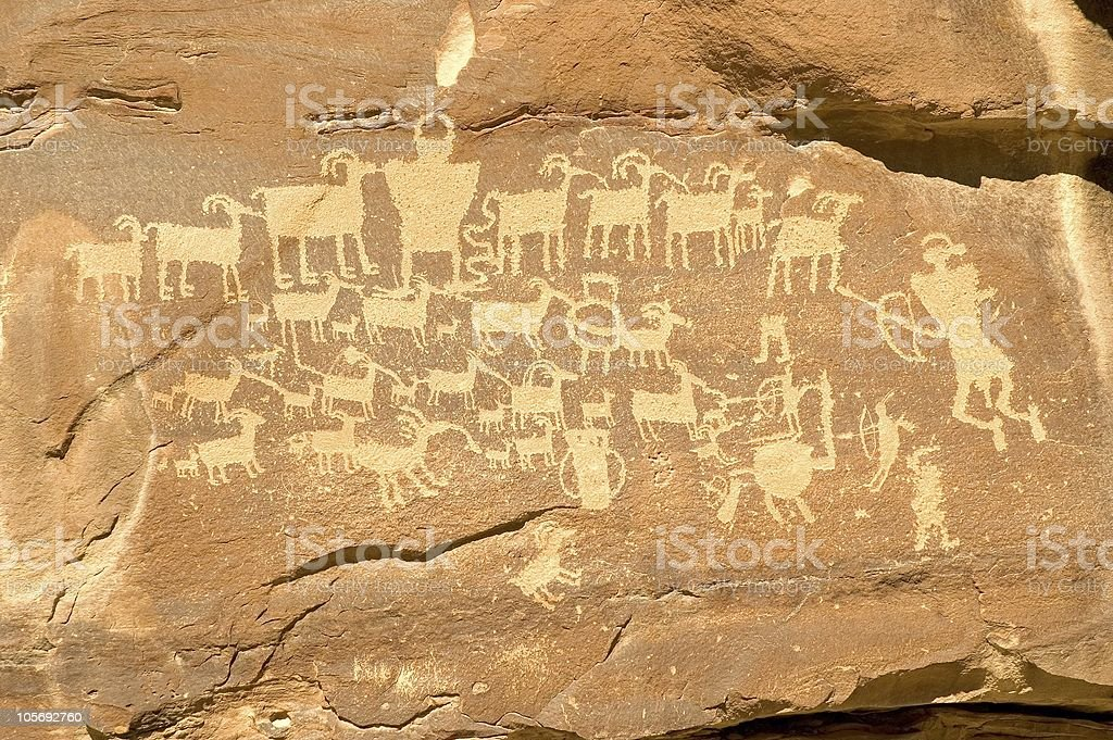 Hunter Panel Famous Indian Petroglyph from Nine Mile Canyon royalty-free stock photo