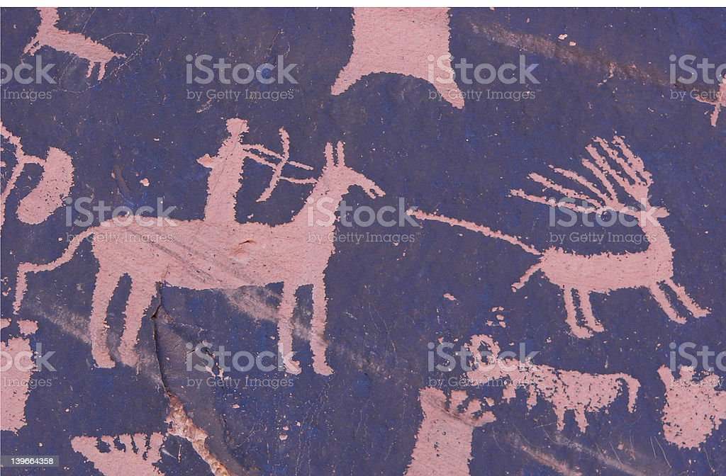 Hunter Petroglyph stock photo
