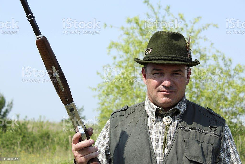 hunter with shotgun outdoor portrait royalty-free stock photo