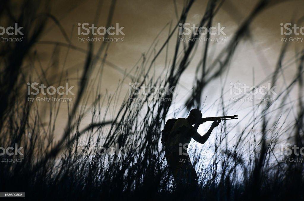 hunter with shotgun stock photo
