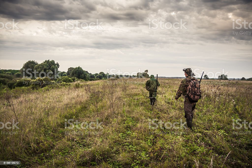 Hunters going through rural field with dramatic sky during hunting stock photo