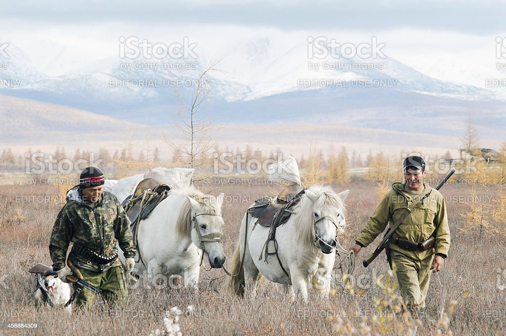 Hunters in the hunt. royalty-free stock photo