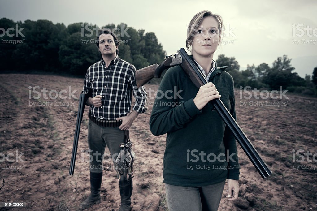 Hunters stock photo