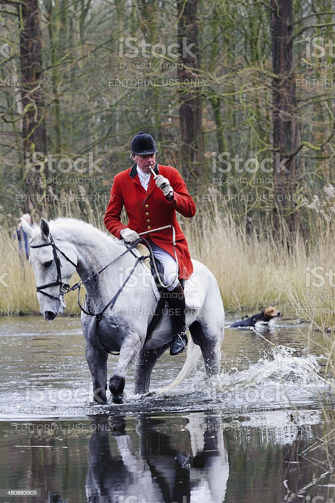 hunters riding their horses through a swamp stock photo