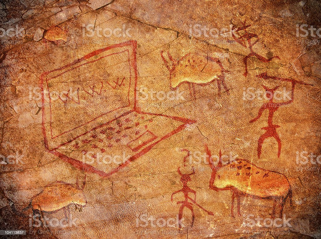 hunters with notebook on cave paint  digital illustration stock photo