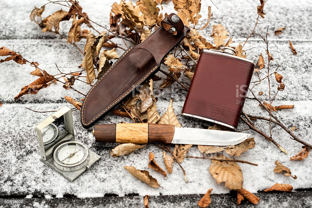 Hunting and outdoor items stock photo