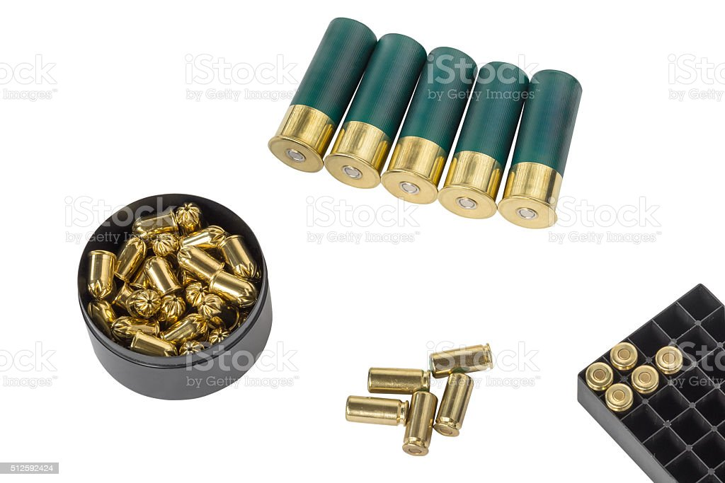 hunting and pistol cartridges isolated on white background stock photo