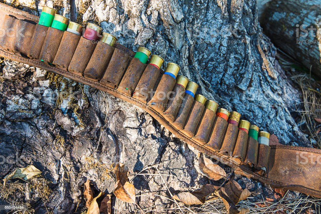 hunting belt with cartridges stock photo