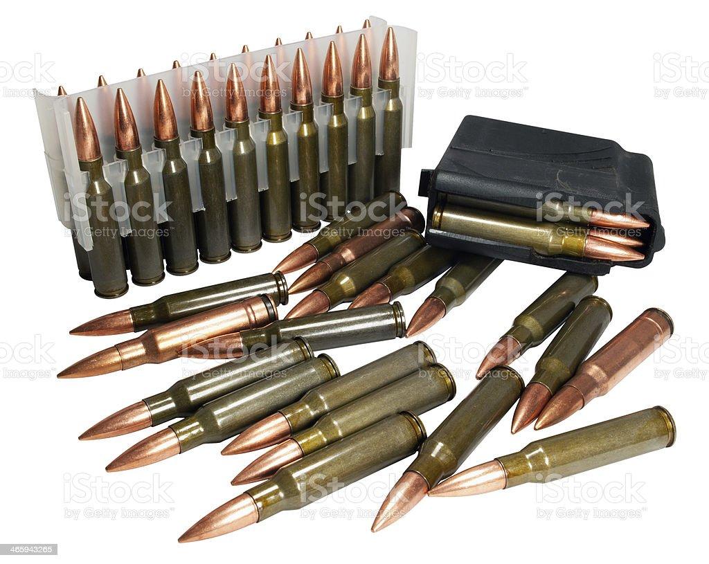 Hunting cartridges of caliber  .308 Win stock photo