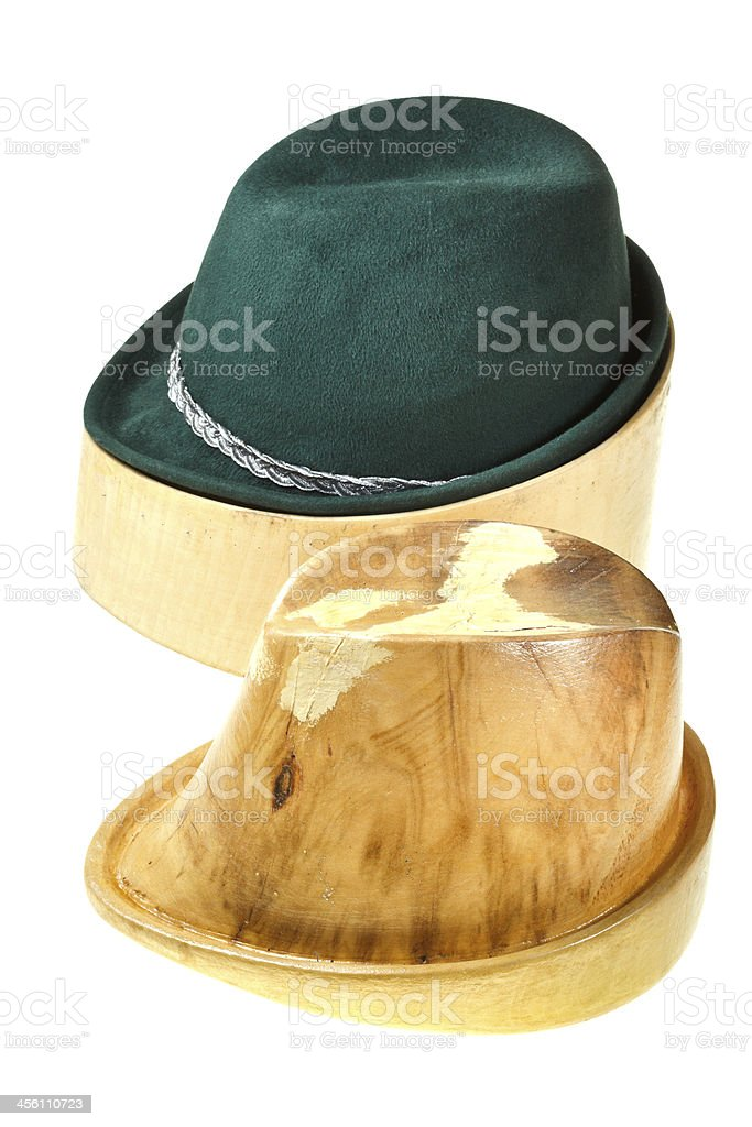 hunting felt hat on linden wooden block royalty-free stock photo