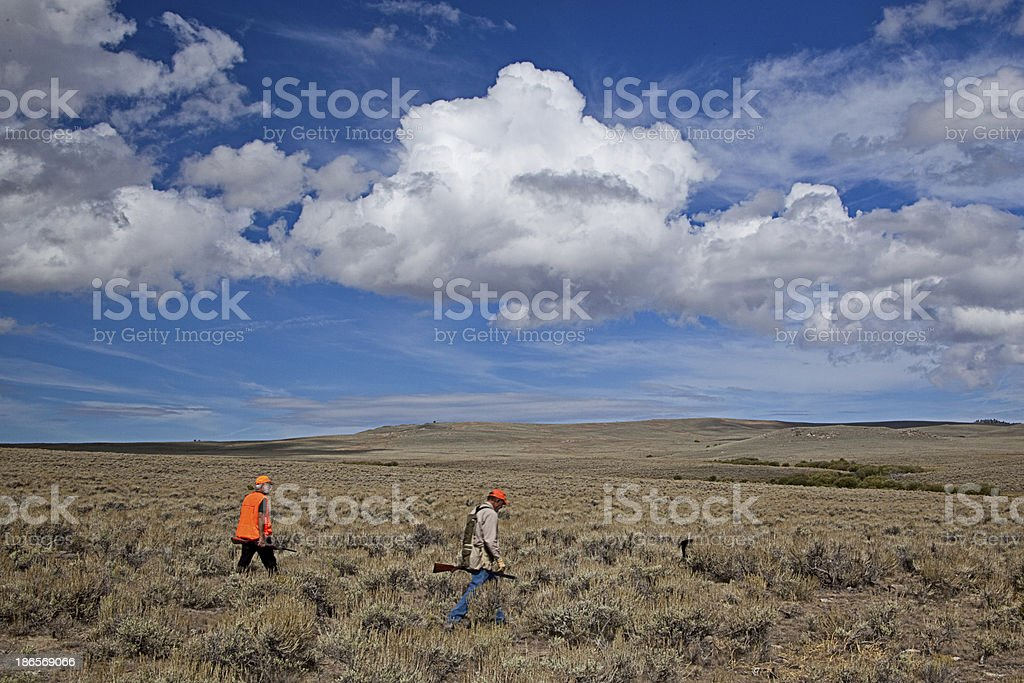 Hunting For Sage Grouse Under the Big Sky stock photo