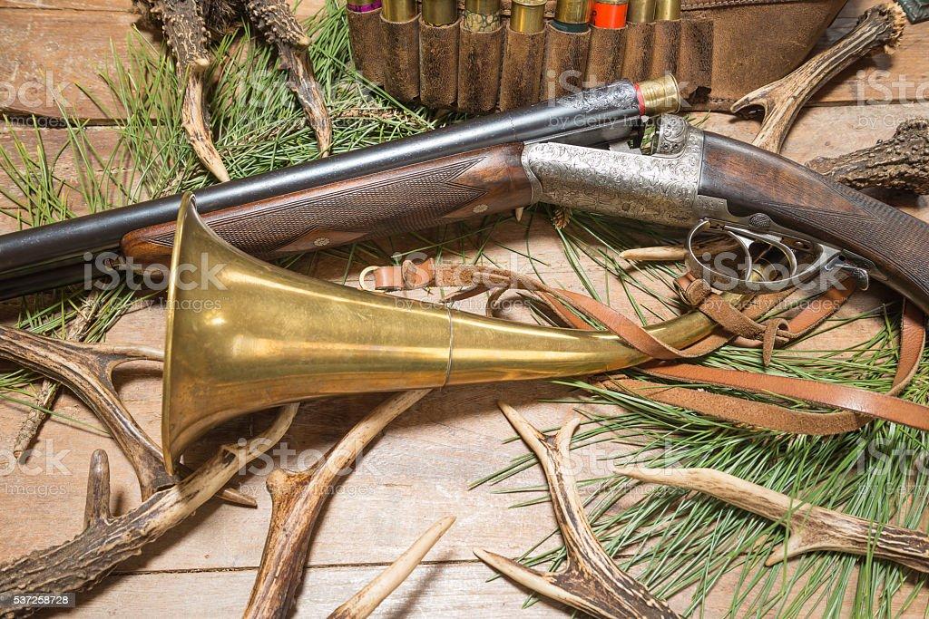 Hunting gun and hunting ammunition stock photo