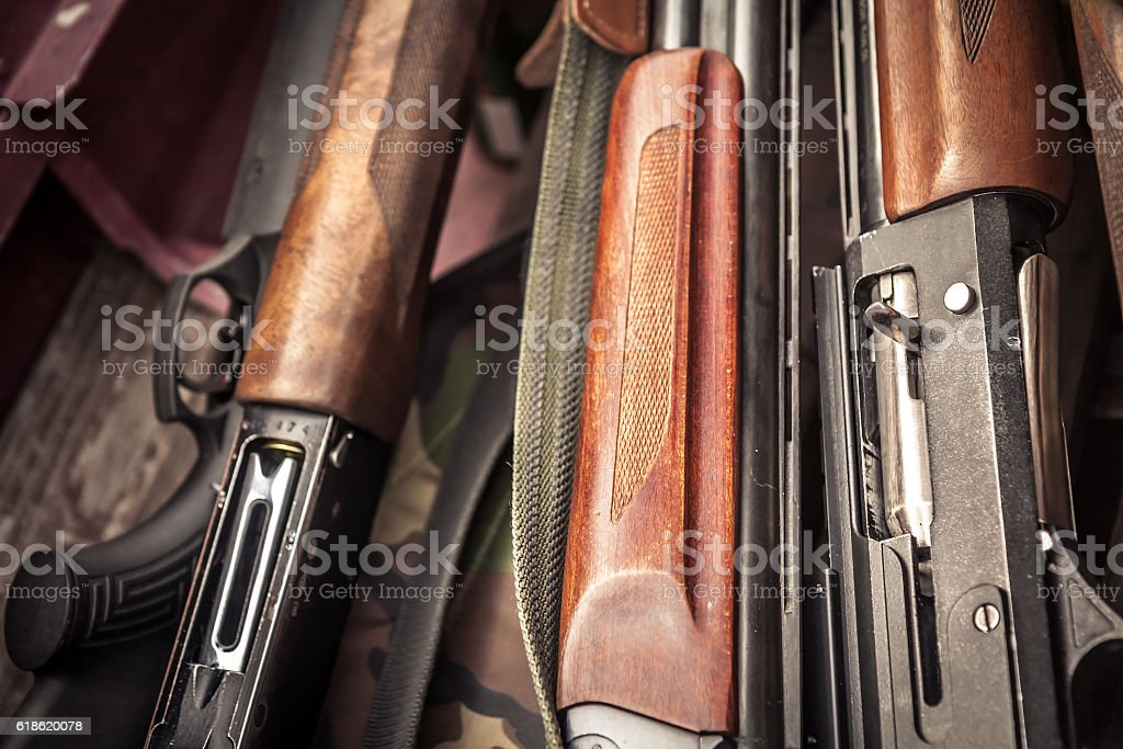 Hunting guns during duck hunting season stock photo