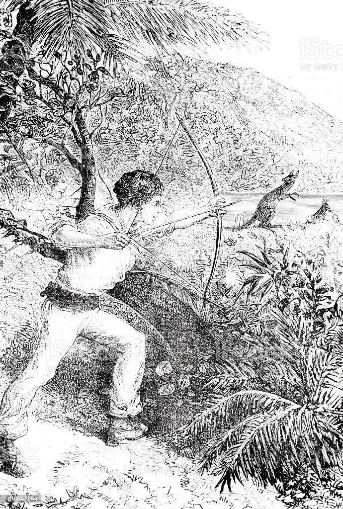 Hunting Kangeroo hand drawn illustration stock photo