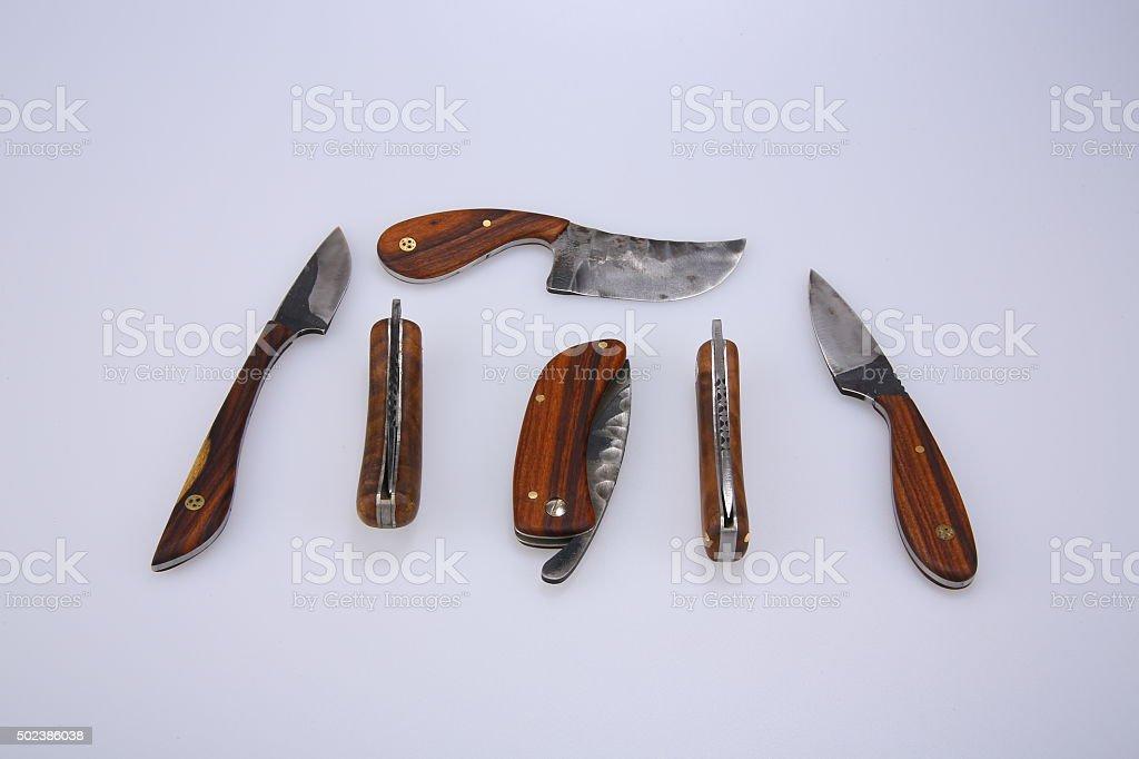 hunting knifes on white background stock photo