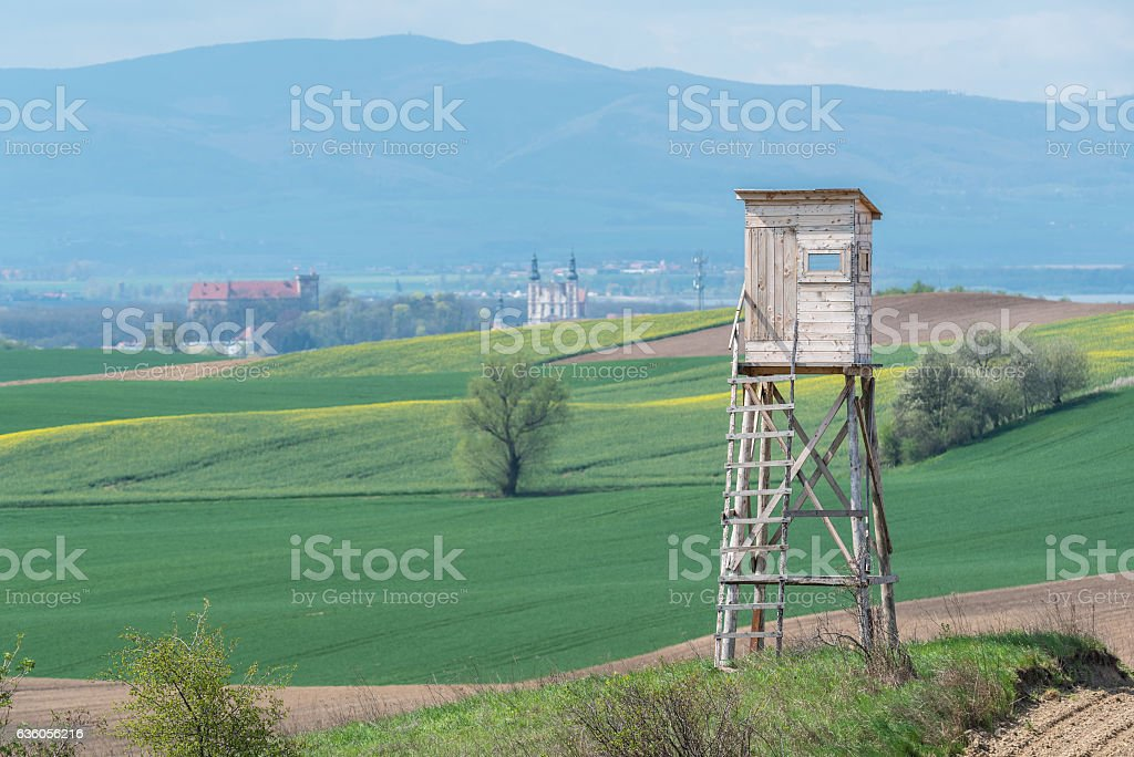 Hunting pulpit close to the city stock photo