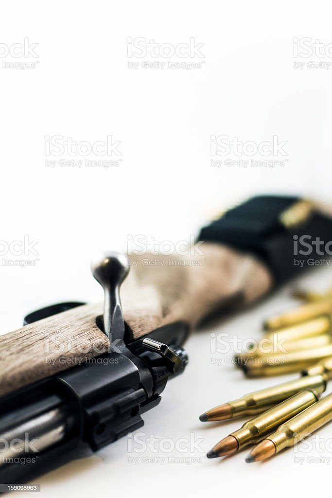 Hunting Rifle with Bullets royalty-free stock photo