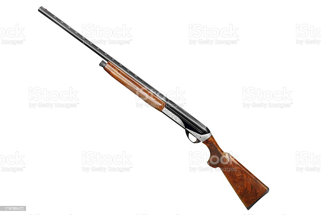 hunting shotgun isolated on white stock photo