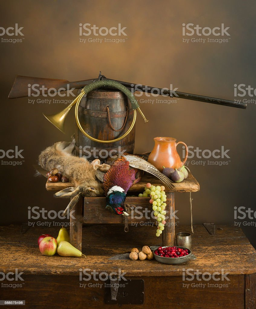 Hunting still life with rifle stock photo
