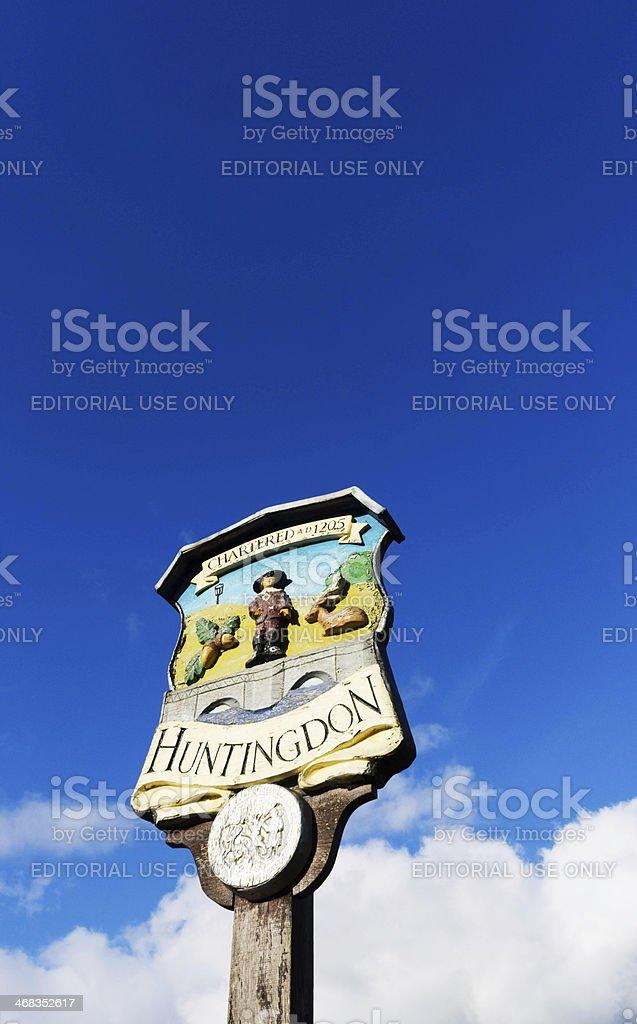 Huntingdon town sign stock photo