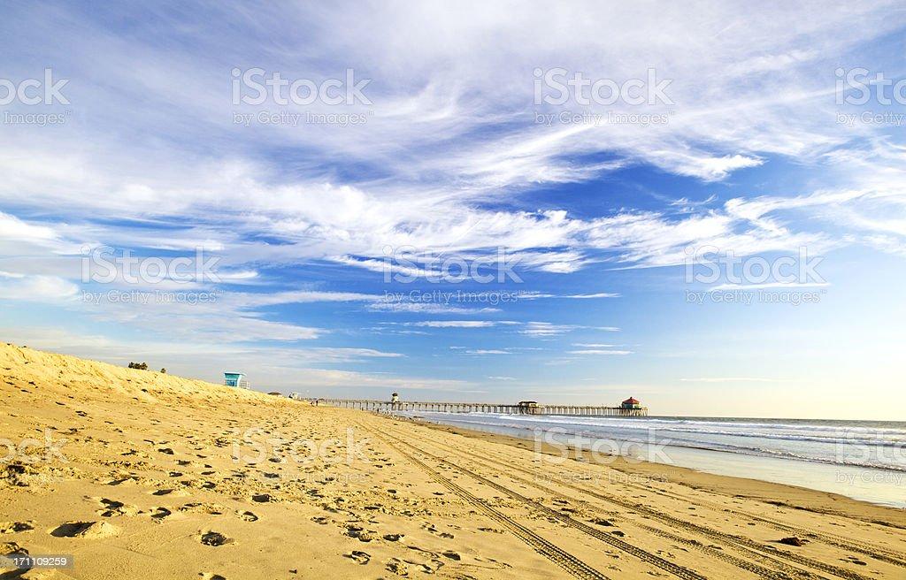 Huntington Beach at daylight stock photo