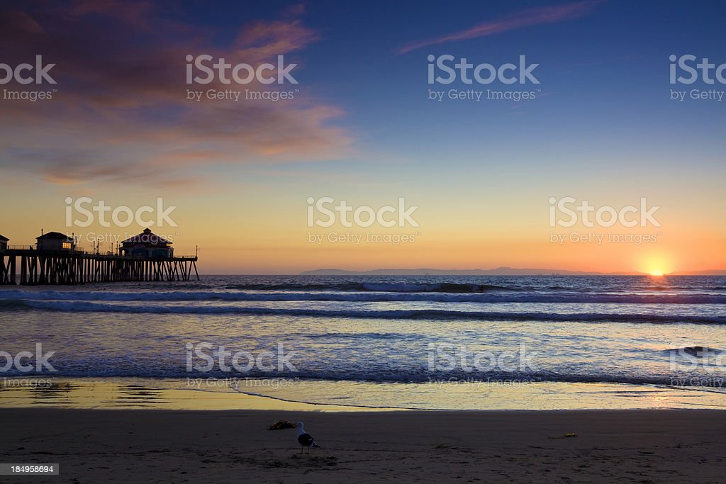 Huntington Beach evening landscape stock photo