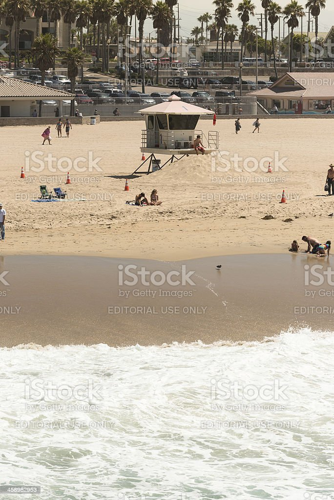 Huntington beach lifeguard hut royalty-free stock photo