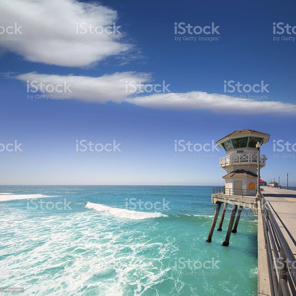 Huntington beach main lifeguard tower Surf City California stock photo