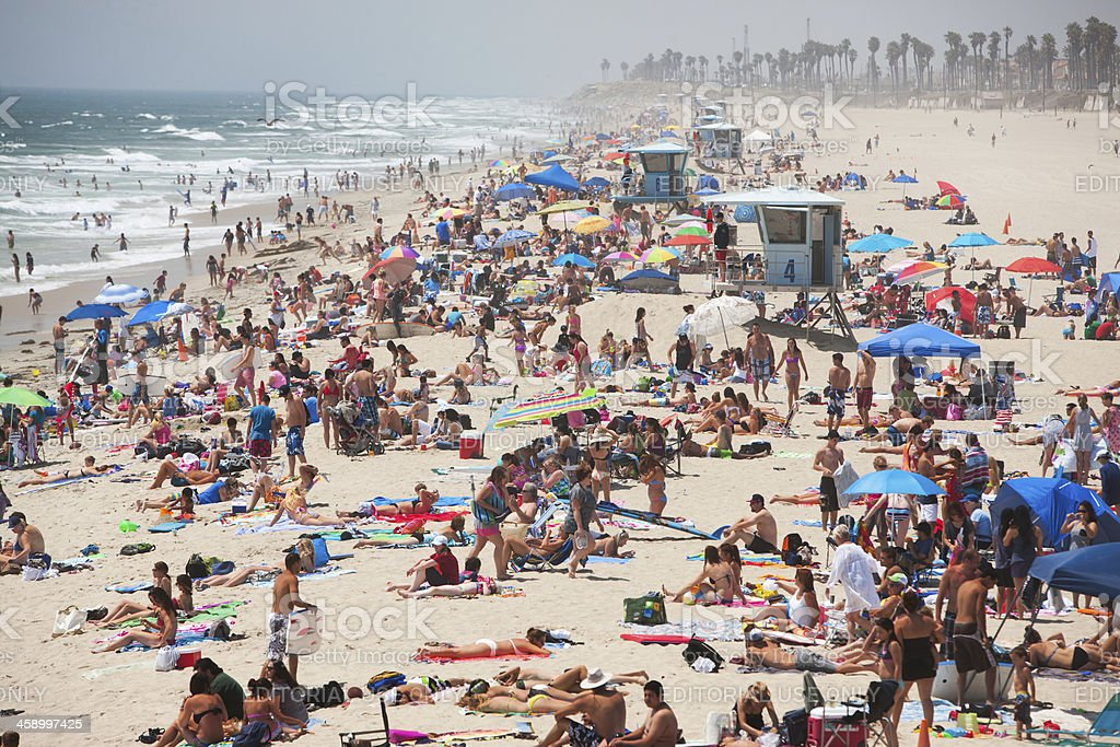 Huntington beach on a busy summer weekend day. royalty-free stock photo