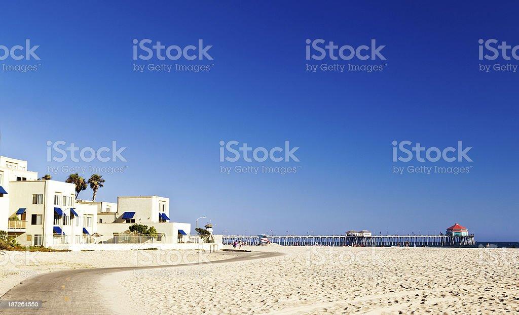Huntington Beach pier and architecture stock photo