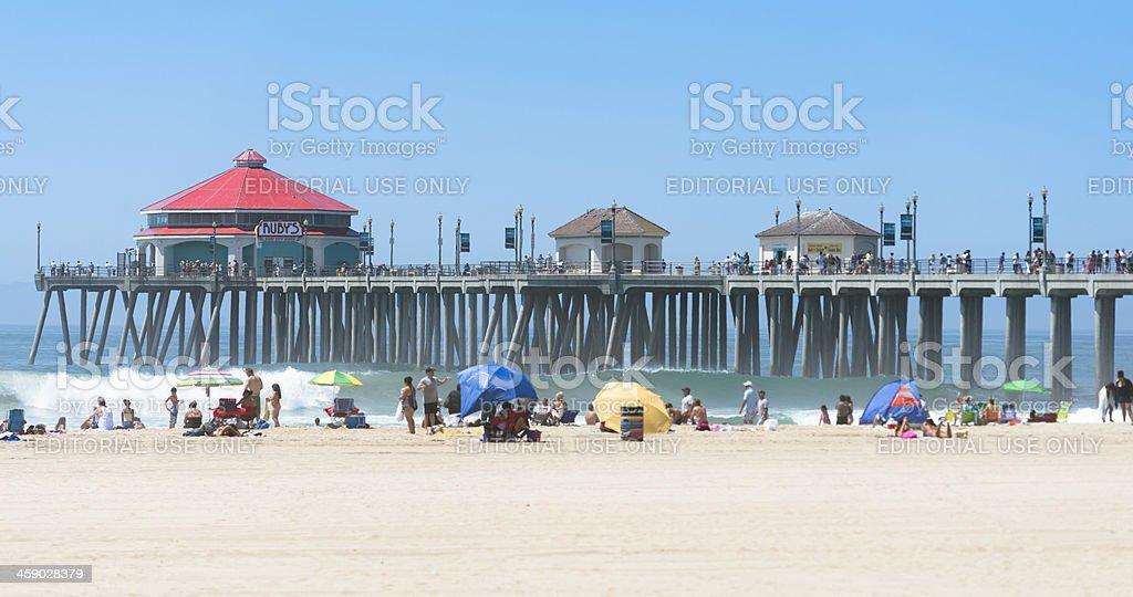Huntington beach pier on a summer day  -  California stock photo
