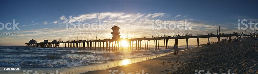 Huntington Beach Pier (Panorama) stock photo
