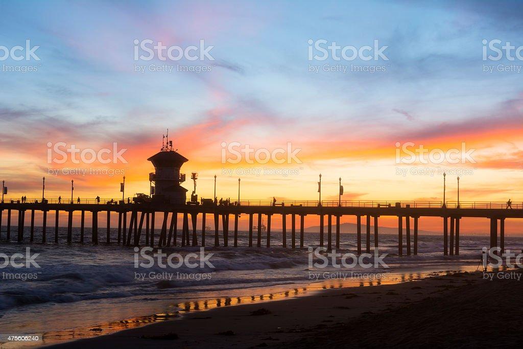 Huntington Beach pier sunset stock photo