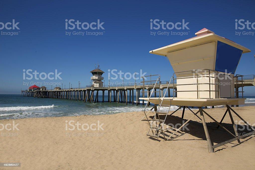 Huntington beach Pier Surf City USA with lifeguard tower stock photo