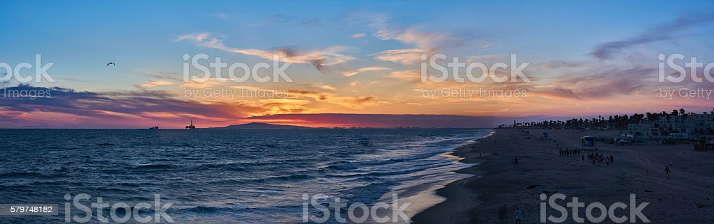 Huntington Beach Purple Sunset stock photo