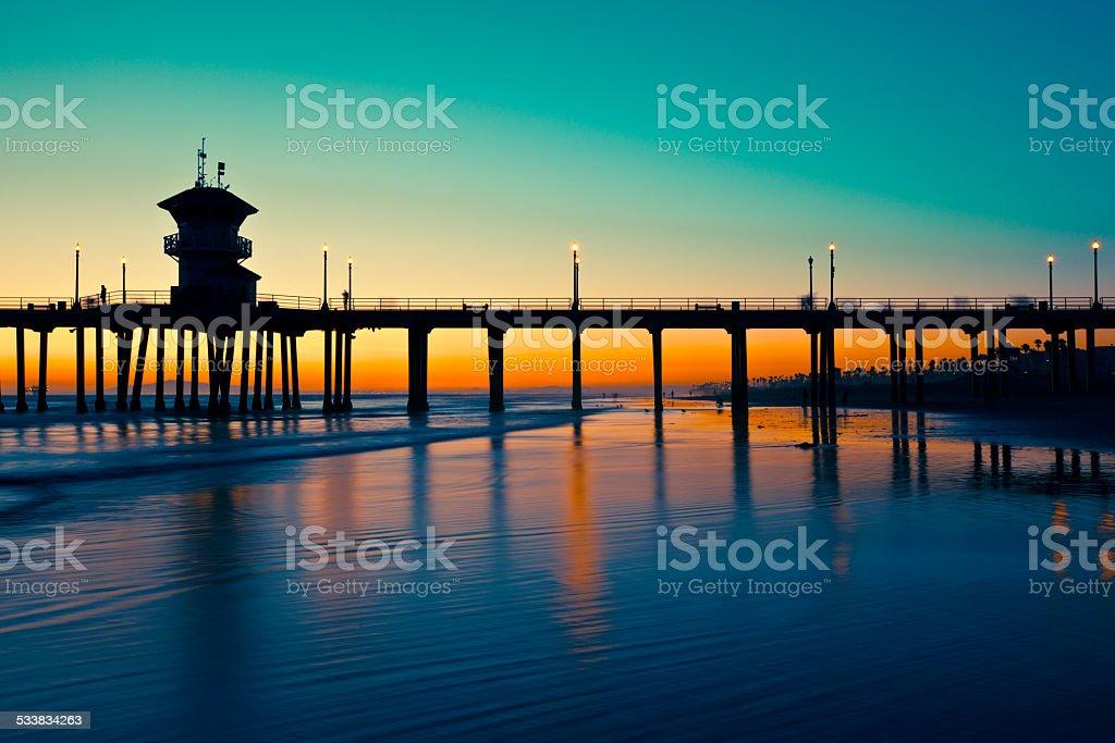 Huntington Beach Sunset stock photo
