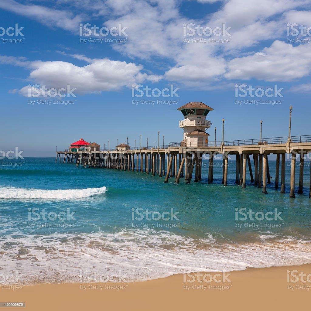Huntington beach Surf City USA pier view stock photo