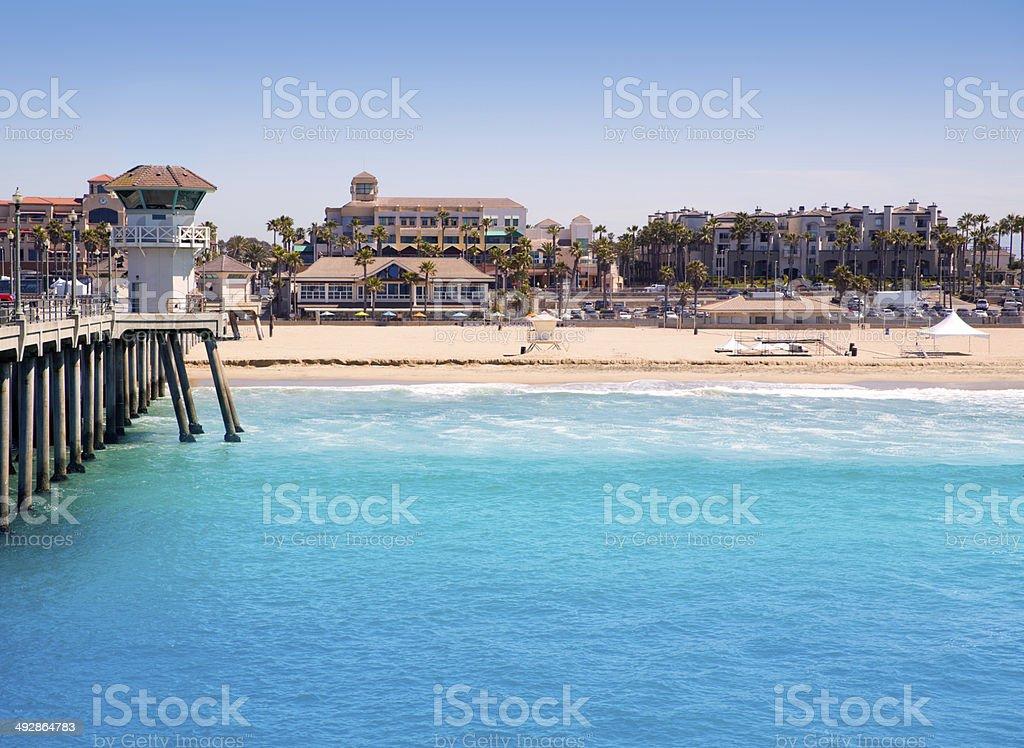 Huntington beach Surf City USA pier with lifeguard tower stock photo