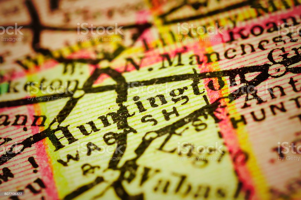Huntington, Indiana on an Antique map stock photo