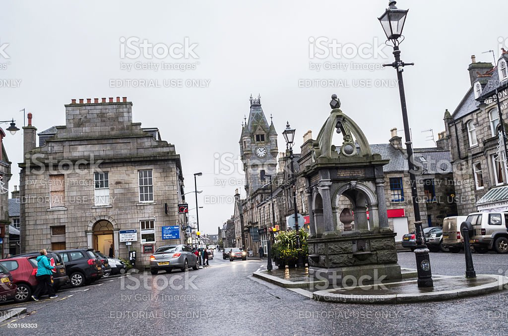 Huntly town square, Scotland stock photo
