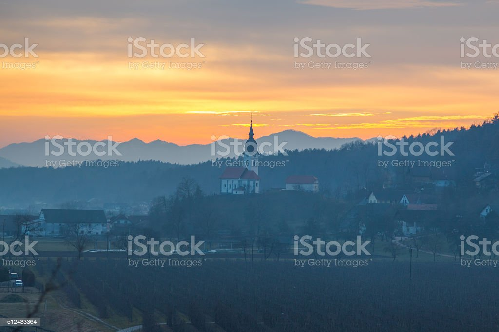 Сhurch at sunset. stock photo