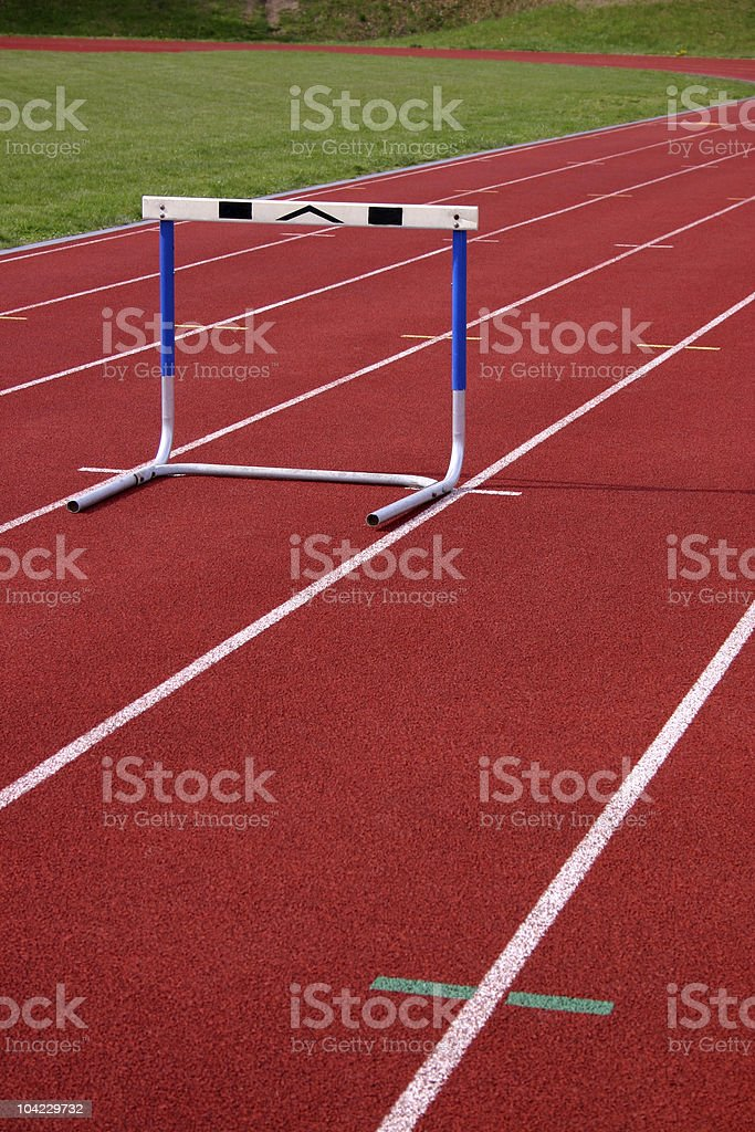 Hurdle on a Running Track royalty-free stock photo