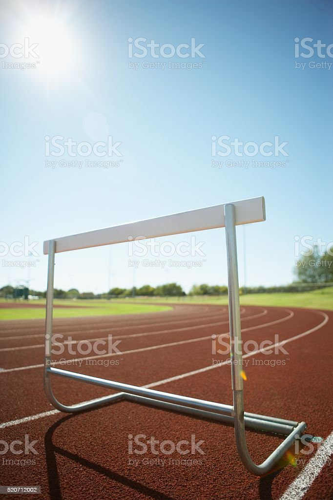 Hurdle on an athletic track stock photo