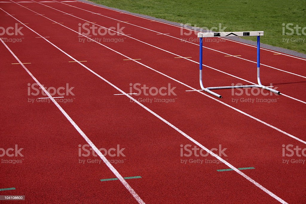 Hurdle on Running Track royalty-free stock photo